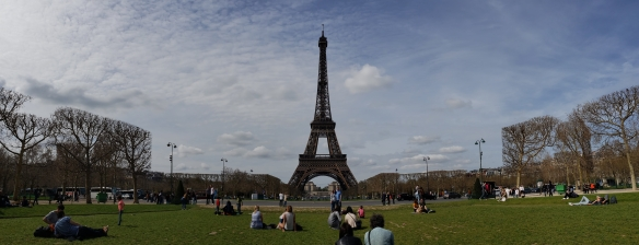 View of the Eiffel from Champ de Mars.